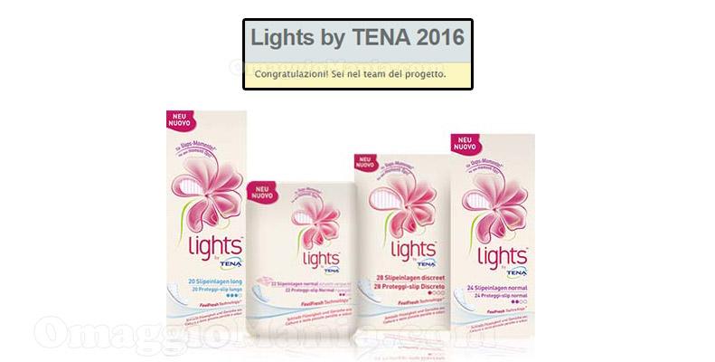 Lights by Tena 2016 congratulazioni sei nel team del progetto