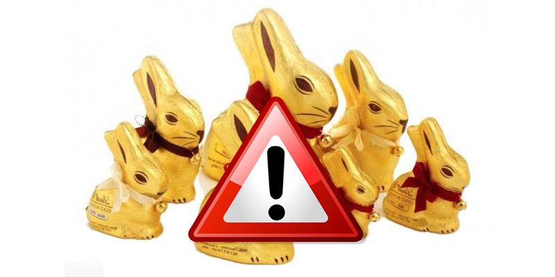 attenzione coniglietti di cioccolata