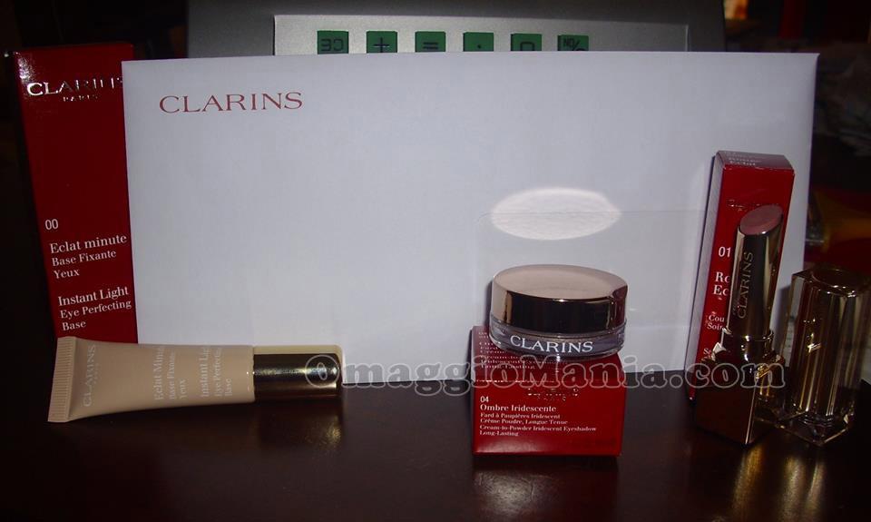 kit Clarins vinto e ricevuto gratis da Nadia
