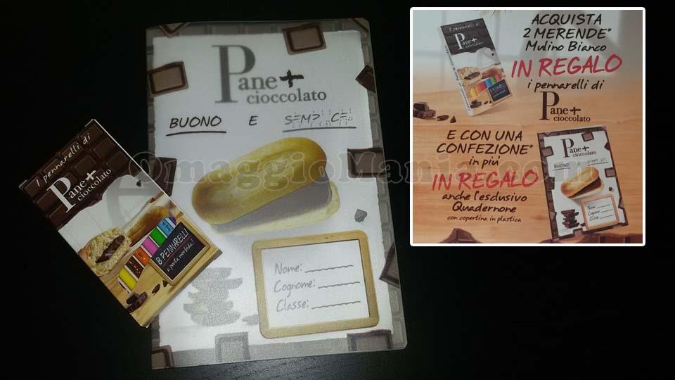 pennarelli e quadernone Pane+Cioccolato Mulino Bianco