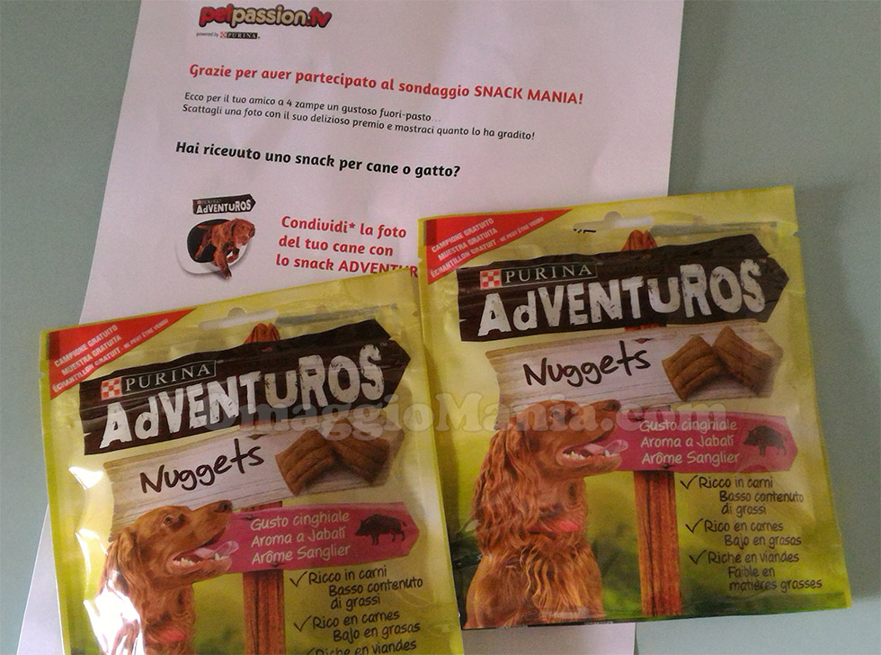 snack Adventuros Nuggets Purina di Tizi