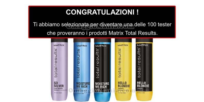 Matrix Total Results selezione tester
