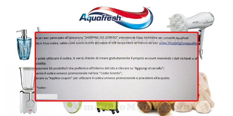 buoni 30 euro Aquafresh Shopping col sorriso
