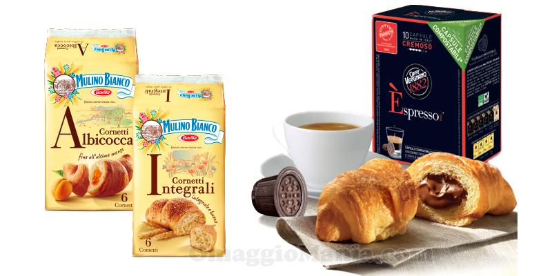 capsule caffè Vergnano omaggio con i Cornetti Mulino Bianco