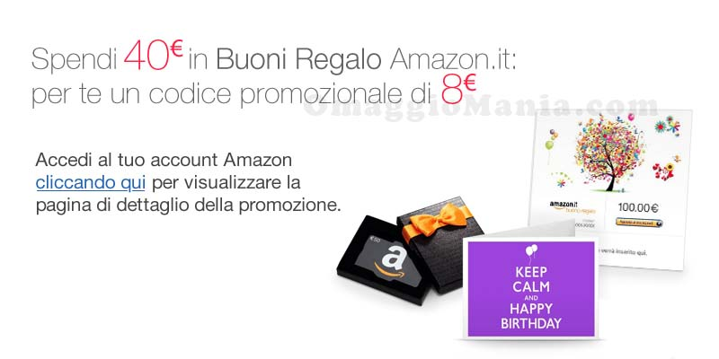 Buono amazon da 8 euro con le carte regalo omaggiomania for Codici regalo amazon gratis