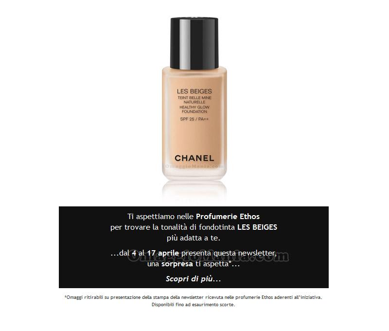 invito campione omaggio Chanel Les Beiges Ethos Profumerie