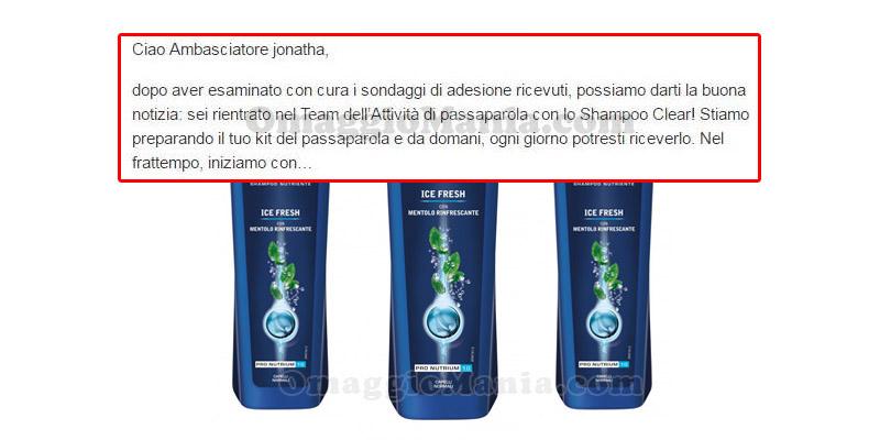 selezione tester shampoo Clear Ice Fresh Jonatha