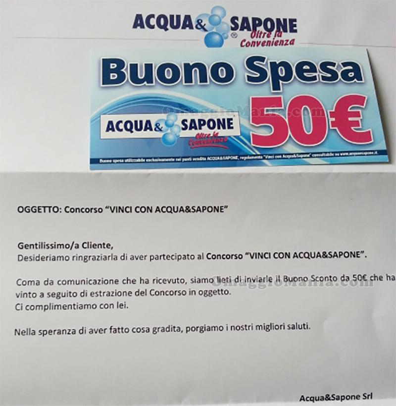buono Acqua&Sapone 50 euro vinto da Sabry77