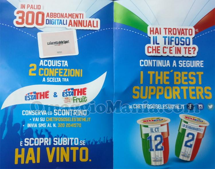 depliant vinci La Gazzetta dello Sport con Estathé