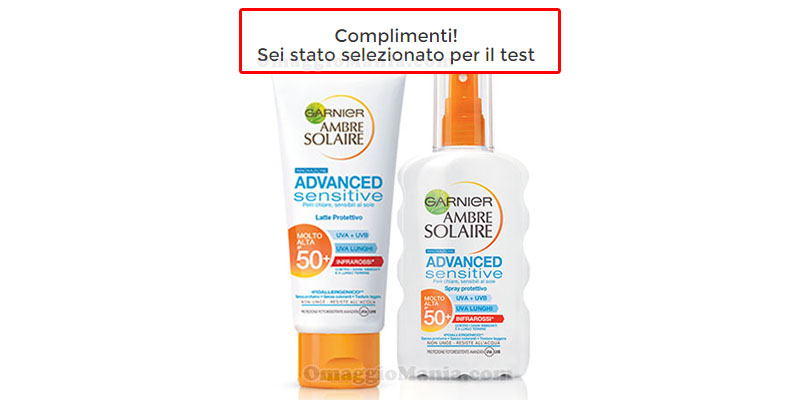 selezione test Garnier Ambre Solaire Advanced Sensitive
