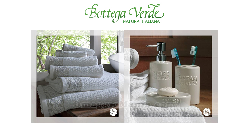 visita premiata Bottega Verde accessori bagno e spugne jacquard
