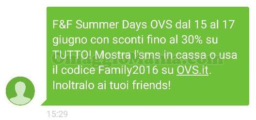 SMS OVS Summer Days ricevuto da Priscilla