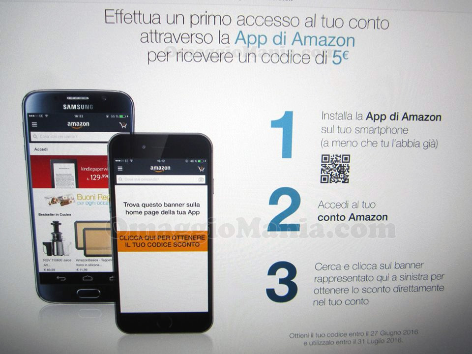 codice Amazon 5€ con la app di Amazon
