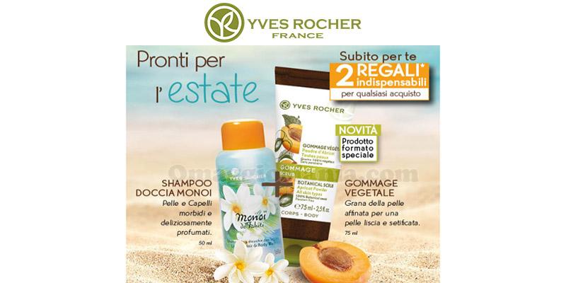 shampoo doccia Monoi e gommage vegetale Yves Rocher omaggio email