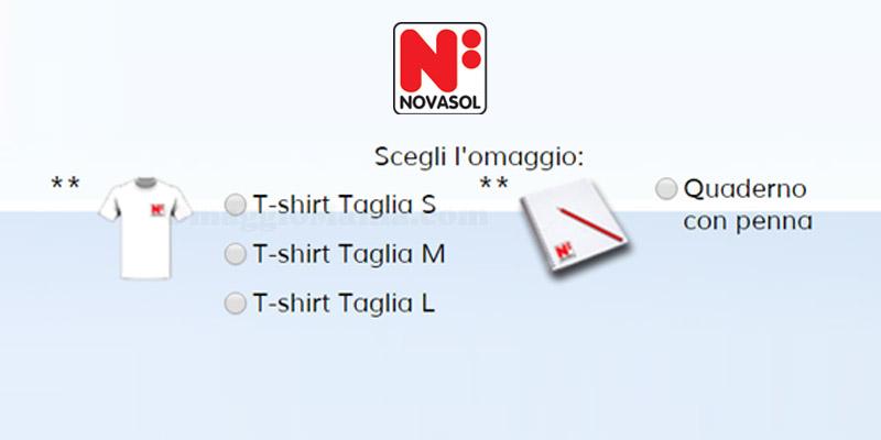 t-shirt o quaderno con penna omaggio Novasol