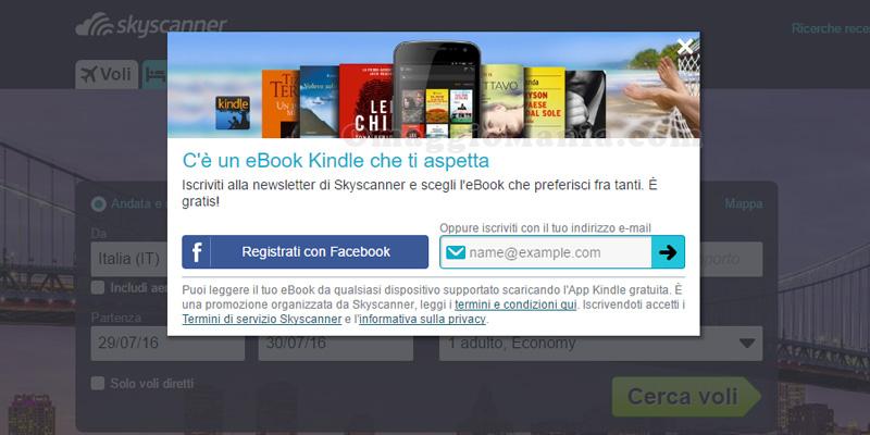 ebook Kindle omaggio con Skyscanner