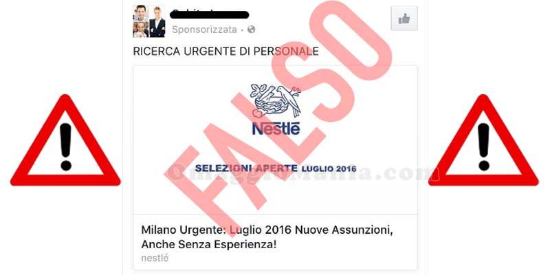 false offerte di lavoro Nestlé