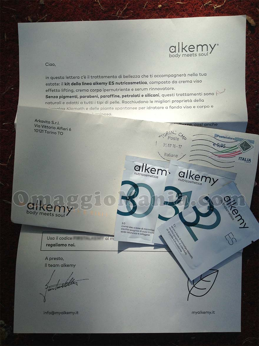 kit campioni omaggio Alkemy di Tatiana
