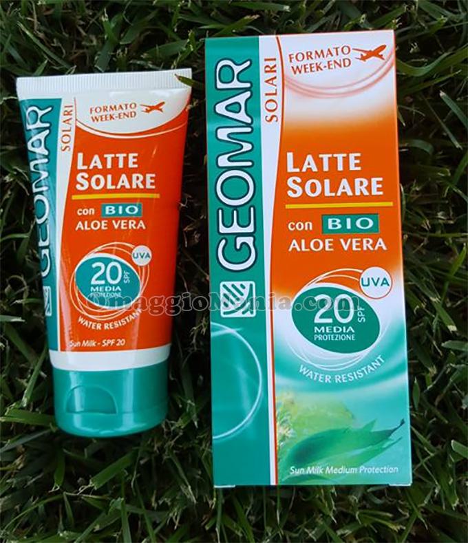 latte solare Geomar con aloe vera bio di Lucia
