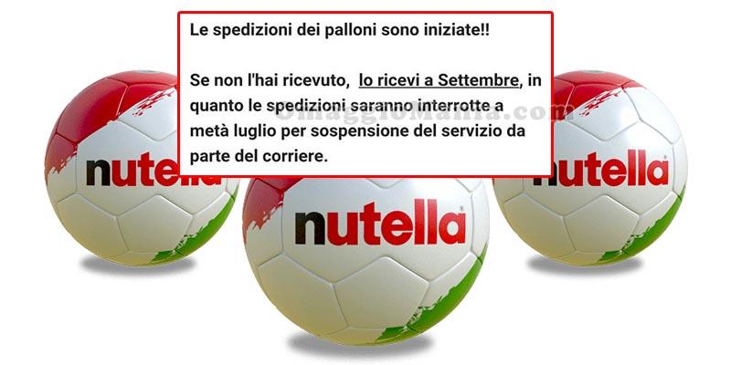 palloni Nutella spedizioni interrotte