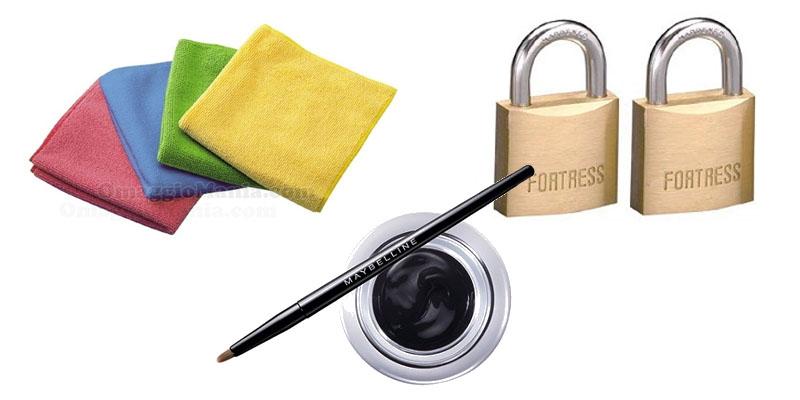 tester Toluna panni, eyeliner, lucchetti