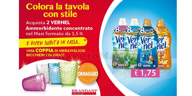 bicchieri Brandani omaggio con Vernel