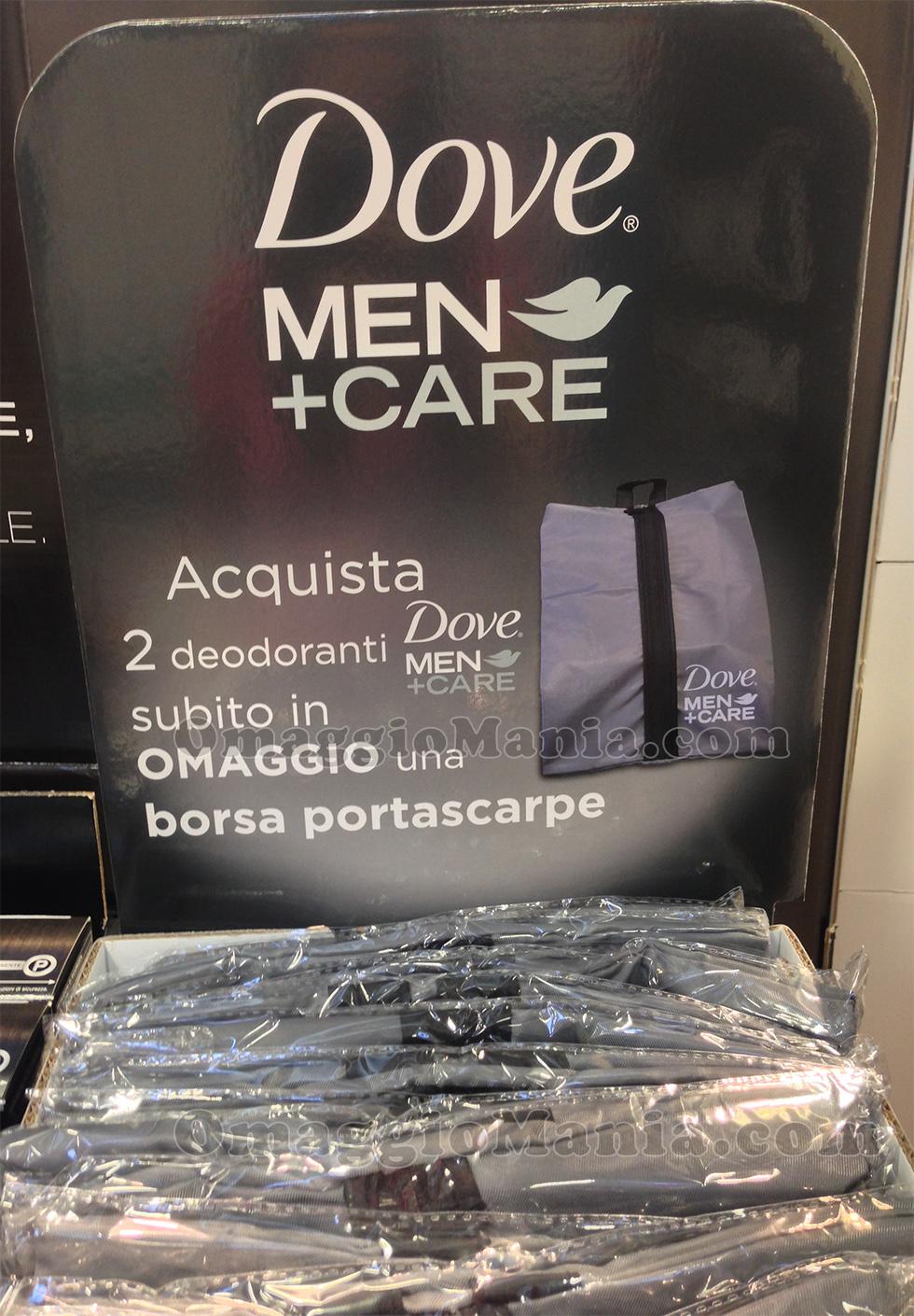 espositore borsa portascarpe omaggio con Dove Men Care