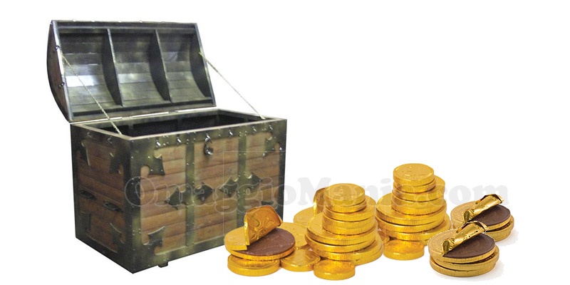 forziere di monete di cioccolato