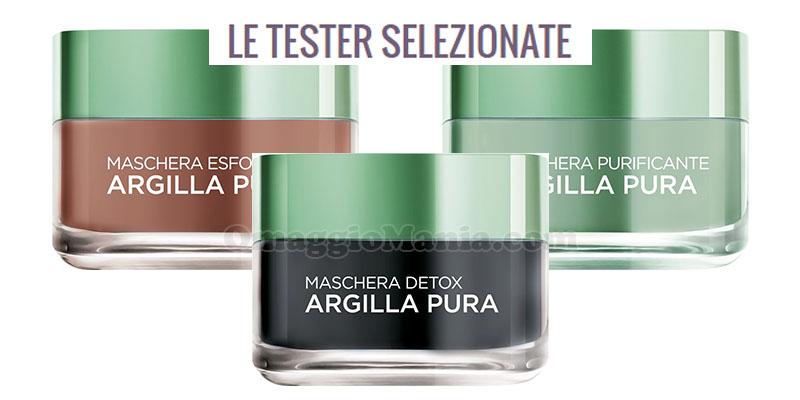 tester selezionate maschere Argilla Pura L'Oréal