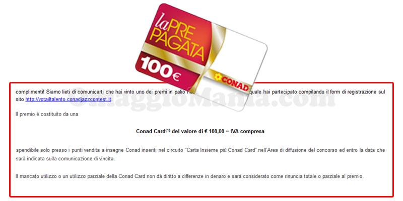 vincita Conad Card 100€ di Stefano
