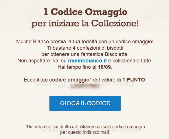 email codice omaggio Mulino Bianco di Antonella