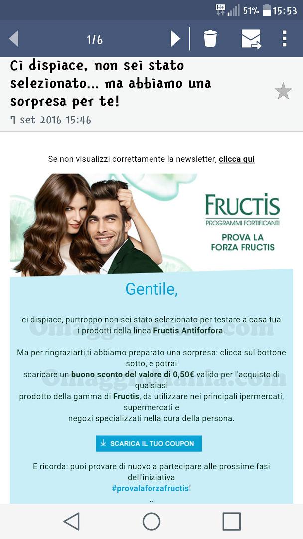 email selezione tester Fructis Antiforfora