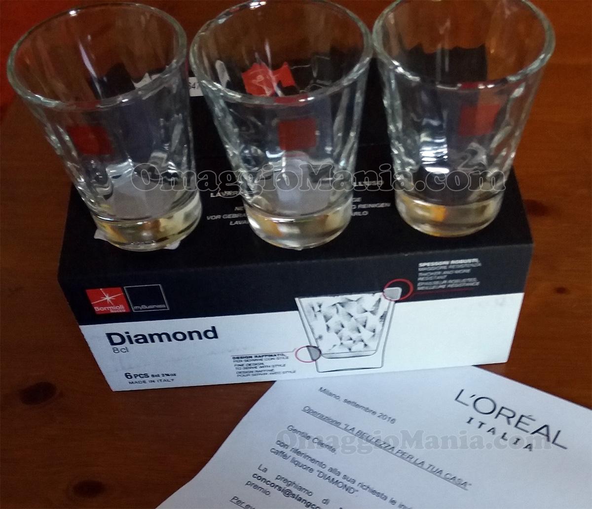 set bicchierini Bormioli Diamond di Ginevra con L'Oréal