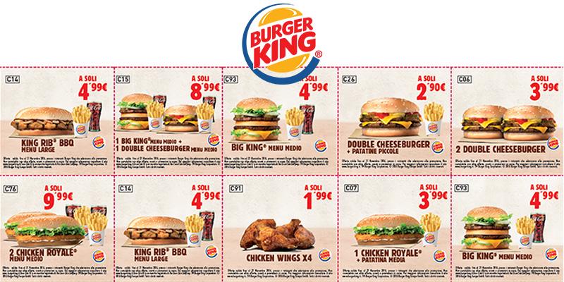 buoni sconto Burger King fino al 21 novembre 2016