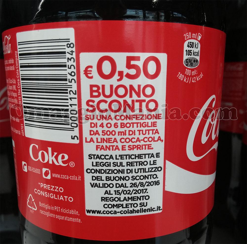 buono sconto Coca Cola su bottiglia
