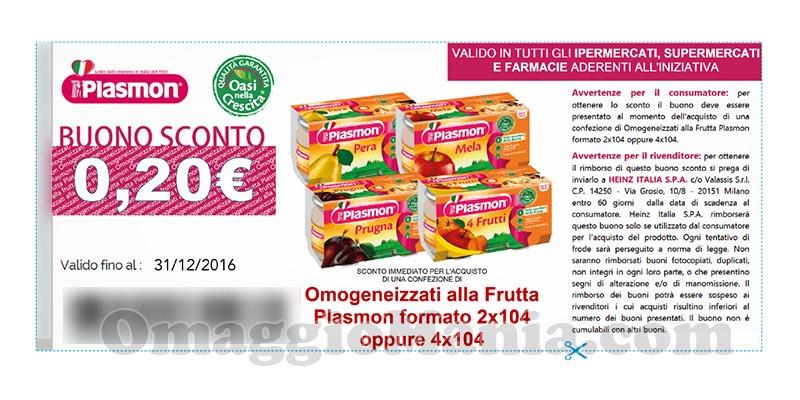 buono sconto Plasmon omogeneizzati alla frutta