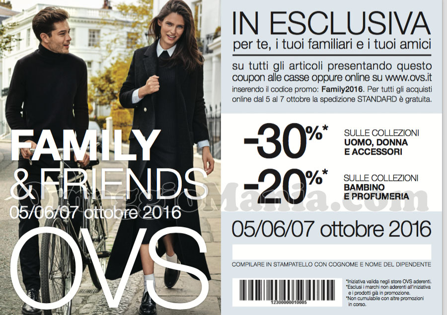coupon OVS Family & Friends 2016