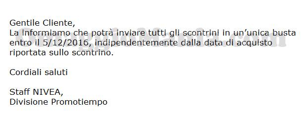 email Nivea invio scontrini unica soluzione di Roberta