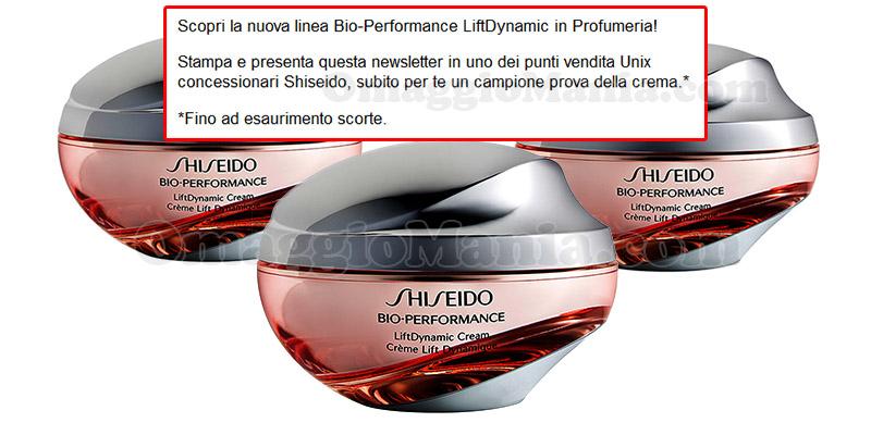 invito campione omaggio crema Shiseido Bio-Performance LiftDynamic