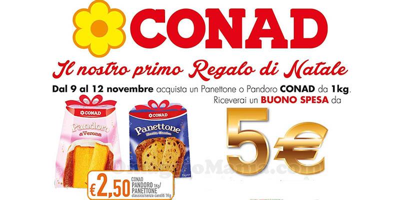 Conad panettone o pandoro a 2,50€, buono-spesa da 5€