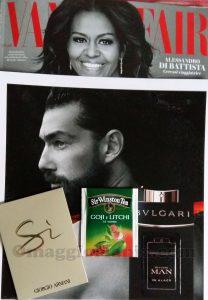 Vanity Fair 46 con campioncini Sì Giorgio Armani, Sir Winston Tea e Bulgari Man di Elena