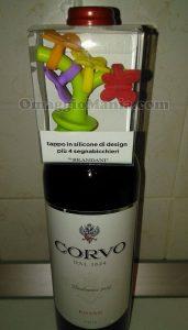 bottiglia di vino Corvo con tappo Brandani di Gloria