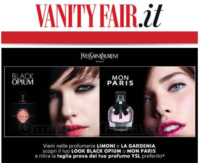 email Vanity Fair campioni omaggio Black Opium Mon Paris Yves Saint Laurent