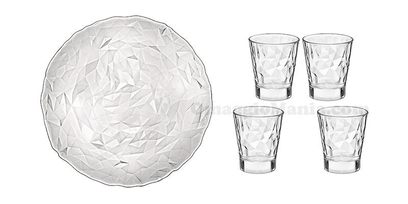 vassoio e bicchierini Diamond Bormioli Rocco