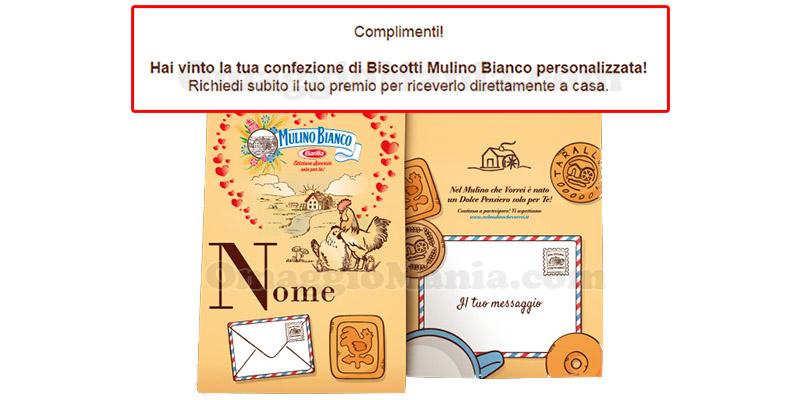 vincita confezione biscotti Mulino Bianco personalizzata di Daniela