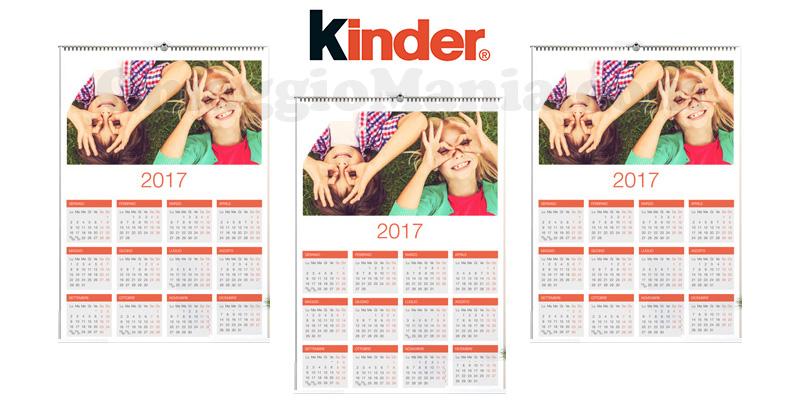 calendario personalizzato Kinder Unattenzioneinpiù omaggio