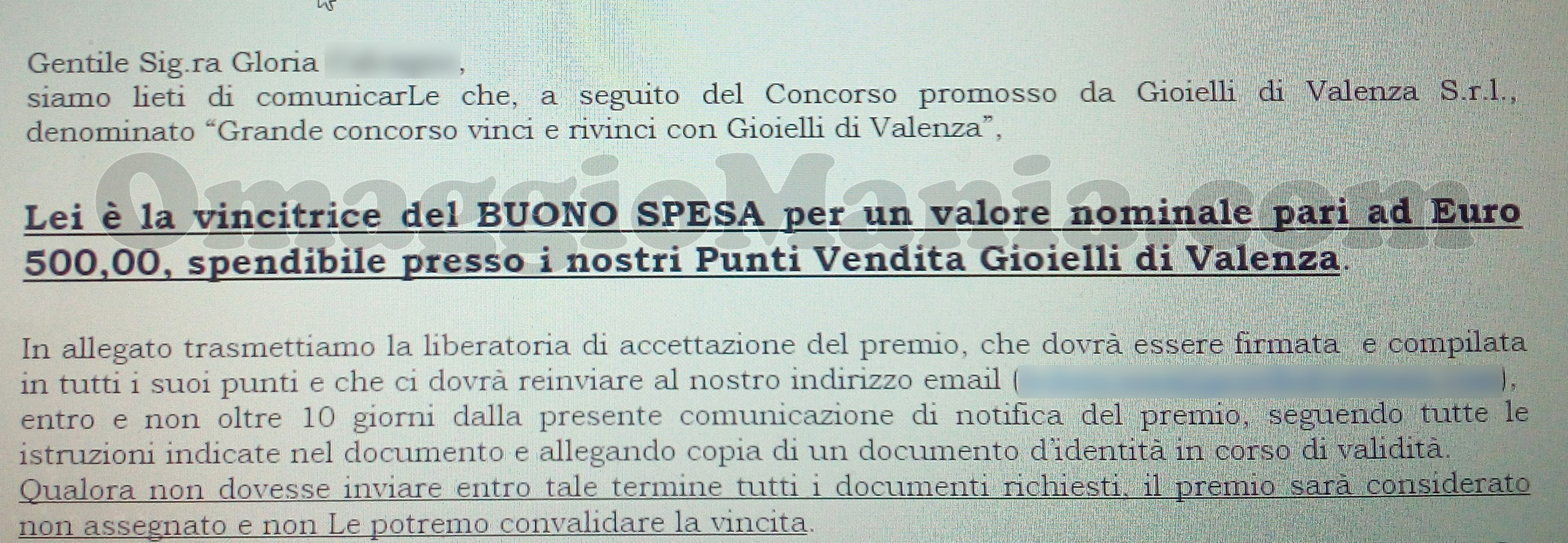 email vincita 500 euro buono spesa di Gloria