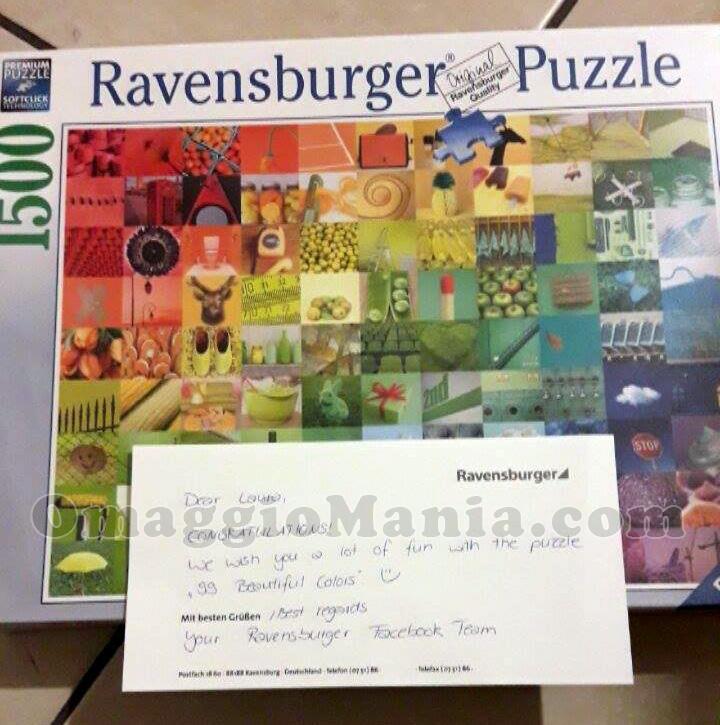 puzzle Ravensburger ricevuto gratis da Laura