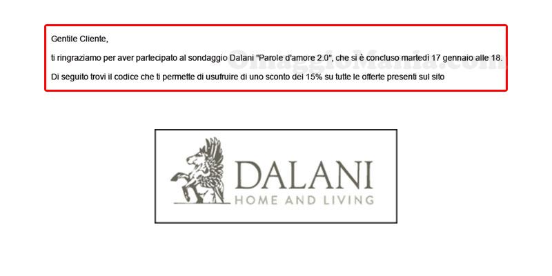 buoni sconto Dalani Parole d'amore 2.0 arrivo