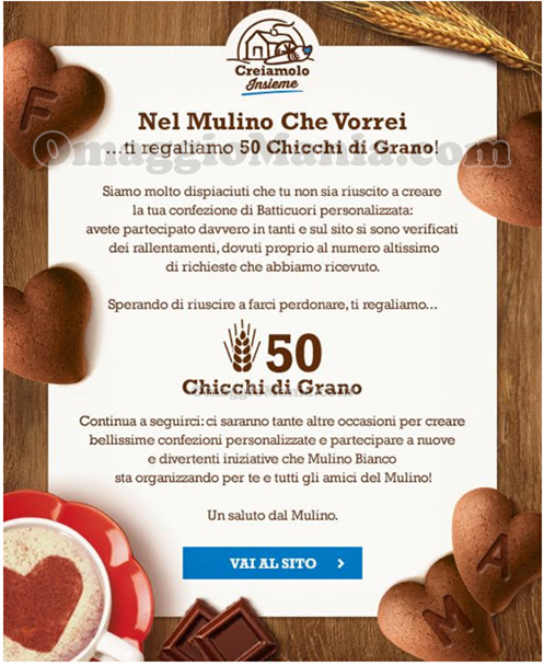 email Mulino Bianco 50 Chicchi di Grano disguido Batticuori San Valentino
